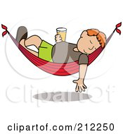 Royalty Free RF Clipart Illustration Of A Relaxed Red Haired Caucasian Man With A Beer Sleeping In A Hammock by Pams Clipart