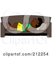 Royalty Free RF Clipart Illustration Of A Relaxed Black Dad Napping On A Couch by Pams Clipart