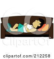 Royalty Free RF Clipart Illustration Of A Relaxed Asian Dad Napping On A Couch by Pams Clipart