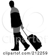 Royalty Free RF Clipart Illustration Of A Black Silhouetted Businessman Walking And Pulling Rolling Luggage by Pams Clipart