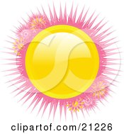 Clipart Illustration Of A Bright Shiny Yellow Circle With Pink Spikes On A White Background