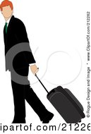 Royalty Free RF Clipart Illustration Of A Faceless Irish Businessman Walking And Pulling Rolling Luggage by Pams Clipart