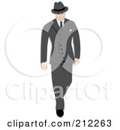 Royalty Free RF Clipart Illustration Of A 1940s Styled Caucasian Businessman Walking In A Gray Suit by Pams Clipart