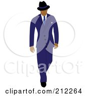 Royalty Free RF Clipart Illustration Of A 40s Styled Hispanic Businessman Walking In A Blue Suit