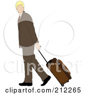 Royalty Free RF Clipart Illustration Of A Faceless Blond Caucasian Businessman Walking And Pulling Rolling Luggage by Pams Clipart