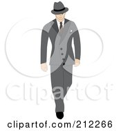 Royalty Free RF Clipart Illustration Of A 40s Styled Caucasian Businessman Walking