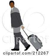 Royalty Free RF Clipart Illustration Of A Faceless Black Businessman In A Gray Suit Walking And Pulling Rolling Luggage