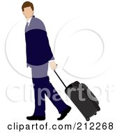 Royalty Free RF Clipart Illustration Of A Faceless Brunette Caucasian Businessman Walking And Pulling Rolling Luggage by Pams Clipart