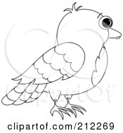 Royalty Free RF Clipart Illustration Of A Profile Of An Outlined Bird by Pams Clipart