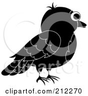 Royalty Free RF Clipart Illustration Of A Profile Of A Black And White Bird by Pams Clipart