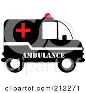 Royalty Free RF Clipart Illustration Of A Red Black And White Ambulance In Profile