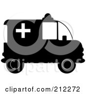 Royalty Free RF Clipart Illustration Of A Black And White Ambulance In Profile