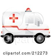 Royalty Free RF Clipart Illustration Of A Medic Ambulance In Profile