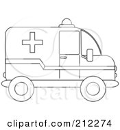 Royalty Free RF Clipart Illustration Of An Outlined Ambulance In Profile
