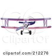 Royalty Free RF Clipart Illustration Of A Purple Biplane In Flight by Pams Clipart