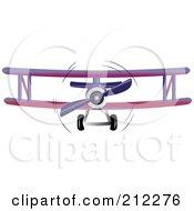 Royalty Free RF Clipart Illustration Of A Purple Biplane In Flight