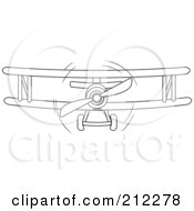 Royalty Free RF Clipart Illustration Of A Black And White Biplane In Flight