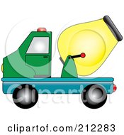 Royalty Free RF Clipart Illustration Of A Green Blue And Yellow Cement Truck In Profile by Pams Clipart