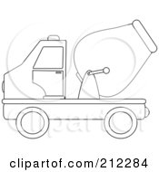 Royalty Free RF Clipart Illustration Of A Coloring Page Outline Of A Cement Truck In Profile by Pams Clipart