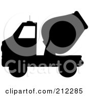 Royalty Free RF Clipart Illustration Of A Black Silhouetted Cement Truck In Profile by Pams Clipart