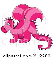 Royalty Free RF Clipart Illustration Of A Cute Pink Baby Dragon In Profile by Pams Clipart
