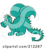 Cute Turquoise Baby Dragon In Profile