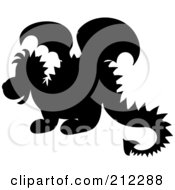 Royalty Free RF Clipart Illustration Of A Cute Silhouetted Baby Dragon In Profile by Pams Clipart