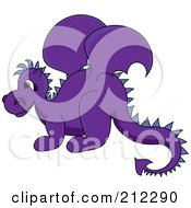 Royalty Free RF Clipart Illustration Of A Cute Purple Baby Dragon In Profile by Pams Clipart