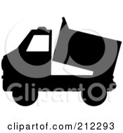 Black Silhouetted Dump Truck
