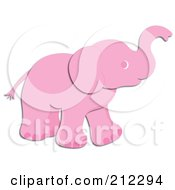 Poster, Art Print Of Cute Pink Elephant Holding His Trunk Up