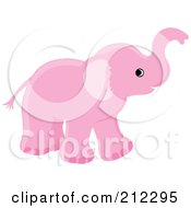 Royalty Free RF Clipart Illustration Of A Cute Pink Baby Elephant Holding His Trunk Up