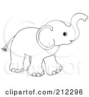 Royalty Free RF Clipart Illustration Of A Cute Outlined Baby Elephant Holding His Trunk Up