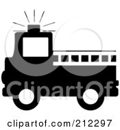 Royalty Free RF Clipart Illustration Of A Black Silhouetted Fire Truck With A White Ladder