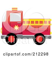 Royalty Free RF Clipart Illustration Of A Red Fire Engine With A Yellow Ladder