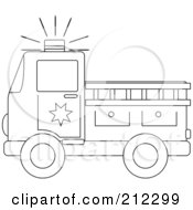 Royalty Free RF Clipart Illustration Of A Coloring Page Outline Of A Fire Truck With A Ladder