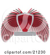 Clipart Illustration Of A Heraldic Shield With Blank Text Space And Black And Red Wings