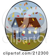 Royalty Free RF Clipart Illustration Of Autumn Leaves Falling Around A House In An Oval by Pams Clipart