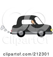 Royalty Free RF Clipart Illustration Of A Person Driving A Black Compact Car With Exhaust by Pams Clipart