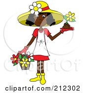 Royalty Free RF Clipart Illustration Of A Black Lady In A Hat With Flowers In A Basket And A Flower In Her Hand by Pams Clipart