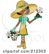 Royalty Free RF Clipart Illustration Of An Indian Lady In A Hat With Flowers In A Basket And A Flower In Her Hand