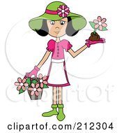 Royalty Free RF Clipart Illustration Of A Black Haired Lady In A Hat With Flowers In A Basket And A Flower In Her Hand by Pams Clipart