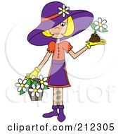 Royalty Free RF Clipart Illustration Of A Blond Lady In A Hat With Flowers In A Basket And A Flower In Her Hand by Pams Clipart