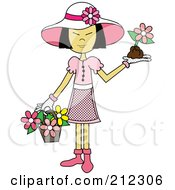 Asian Lady In A Hat With Flowers In A Basket And A Flower In Her Hand