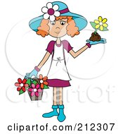 Red Haired Lady In A Hat With Flowers In A Basket And A Flower In Her Hand