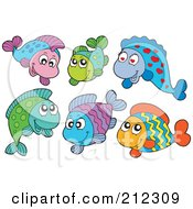 Royalty-Free (RF) Clipart Illustration of a Digital Collage Of Happy Tropical Fish by visekart