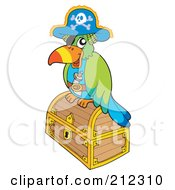 Royalty Free RF Clipart Illustration Of A Pirate Parrot On A Closed Treasure Chest