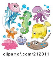 Royalty Free RF Clipart Illustration Of A Digital Collage Of A Jellyfish Seahorse Octopus Fish Starfish Clam Corals And Ray by visekart