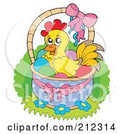 Royalty Free RF Clipart Illustration Of A Chicken Sitting In An Easter Basket