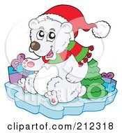 Royalty Free RF Clipart Illustration Of A Christmas Polar Bear With Presents And A Tree On An Iceberg by visekart