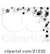 Clipart Illustration Of An Elegant Black And White Border Of Silhouetted Grapes And Grapevines On A White Background